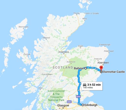 Edinburgh - Craingorms - Dunnotar Castle